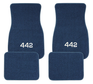 "1961-77 Cutlass Floor Mats, Carpet Matched Oem Style ""4-4-2"" Script, by ACC"