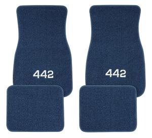 """1961-77 Cutlass Floor Mats, Carpet Matched Oem Style """"4-4-2"""" Script"""