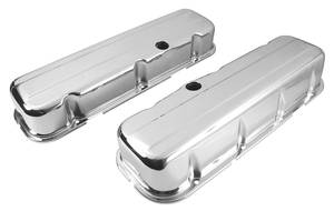 1964-77 Chevelle Valve Covers, Stamped Steel Chrome Big-Block Tall