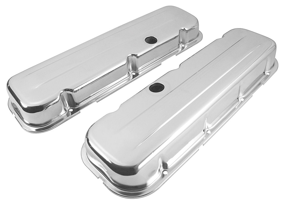 Photo of Valve Covers, Stamped Steel Chrome Big-Block short