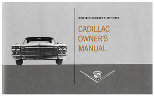 1963 Cadillac Owners Manual, Authentic