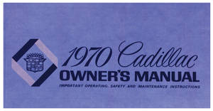 1970 Cadillac Owners Manual, Authentic