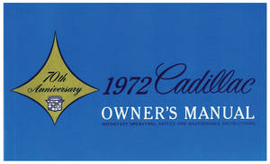 1972-1972 Cadillac Owners Manual, Authentic