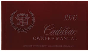 1976-1976 Cadillac Owners Manual, Authentic (Except Seville)
