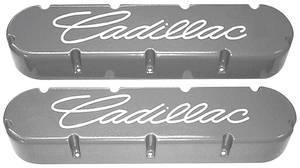 """1954-1976 60 Special Valve Covers, Cast Aluminum """"Cadillac"""" 368-425-472-500 Flat Top Style Milled """"Cadillac"""" Script"""