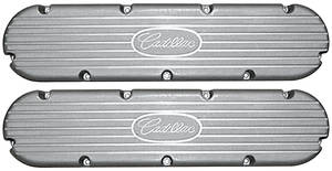 """1954-76 60 Special Valve Covers, Cast Aluminum """"Cadillac"""" 368-425-472-500 Flat Top Style Small """"Cadillac"""" Script w/Fins"""