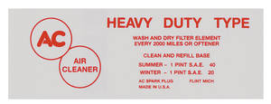 1954-1955 Cadillac Air Cleaner Decal (Oil Bath Service, Red)
