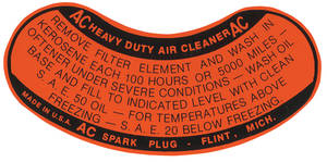 1956-57 Cadillac Air Cleaner Decal (2 X 4-BBL Service, Orange)