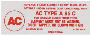 1958-60 Cadillac Air Cleaner Decal (A85C Service, Red)