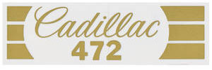 """1968-74 Air Cleaner Decal (Snorkel """"Cadillac 472"""", Gold)"""