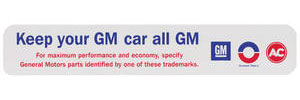 """1970 Cadillac Air Cleaner Decal, """"Keep Your GM Car All GM"""""""
