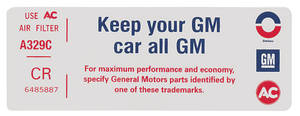 "1972 Cadillac Air Cleaner Decal, ""Keep Your GM Car All GM"" (CR, #6485887)"