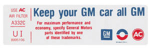 "1975-1975 Cadillac Air Cleaner Decal, ""Keep Your GM Car All GM"" (UI, #8995106)"