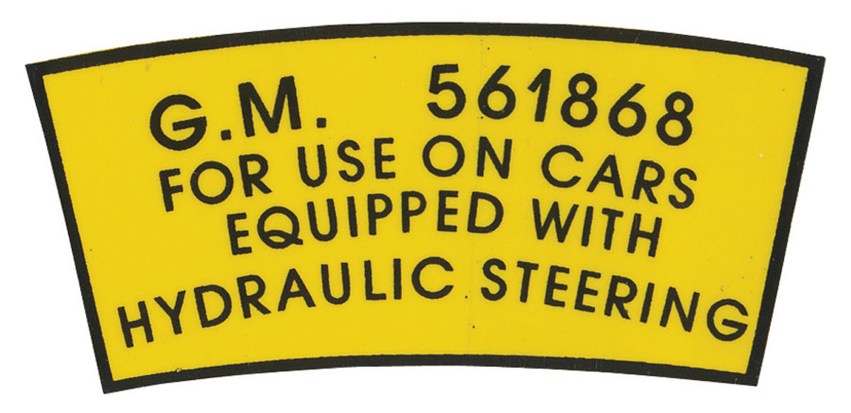 Photo of Series 62/65/Calais Power Steering Decal (Pump Pulley) #561868