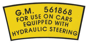 1954-57 Eldorado Power Steering Decal (Pump Pulley) #561868