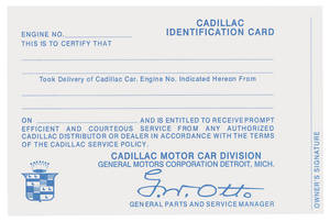 1954-1958 Cadillac Owner's Identification Card