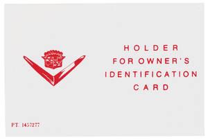 Owner's Identification Card Holder (Plastic)