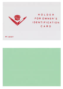 1957-1958 Cadillac Owner's Identification Card with Overlay