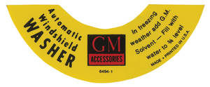 1954-60 Cadillac Windshield Washer Decal - Peel & Stick Bottle Neck (#54D4-1)