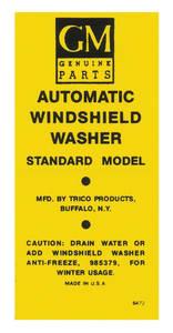 1956-60 Cadillac Windshield Washer Decal - Peel & Stick Bottle Bracket Lable (#6472)