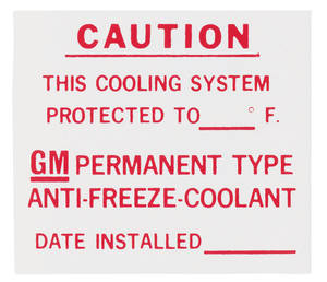 1965-1975 Cadillac Cooling System Decal (Dealer Installed Anti-Freeze)