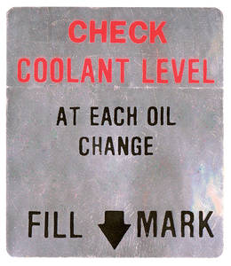 1966-67 Cadillac Cooling System Decal (Coolant Level/Fan Caution)