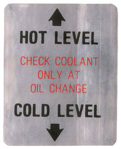 1968 Cadillac Cooling System Decal (Coolant Level)