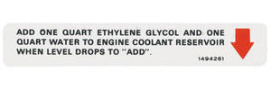 1970-1970 Cadillac Cooling System Decal - Caution (#1494261) Eldorado