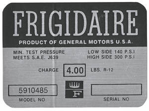 1963-64 Cadillac Air Conditioning Compressor Decal - Frigidaire (#5910485)