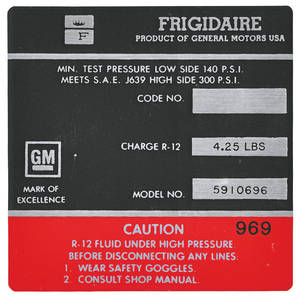1966 Eldorado Air Conditioning Compressor Decal - Frigidaire (Red, #5910696)