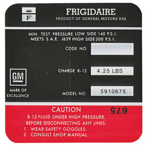 1967 Cadillac Air Conditioning Compressor Decal - Frigidaire (Red, #5910675) Except Eldorado
