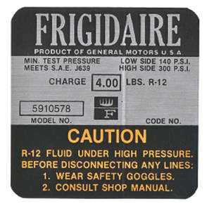 1967-1967 Cadillac Air Conditioning Compressor Decal - Frigidaire (#5910578) Eldorado
