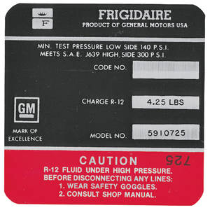 1968 Cadillac Air Conditioning Compressor Decal - Frigidaire (Red, #5910725)