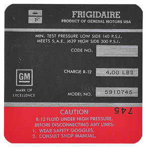 1969-1969 Cadillac Air Conditioning Compressor Decal - Frigidaire (Red, #5910745)
