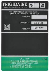 1969-71 Cadillac Air Conditioning Compressor Decal - Frigidaire (Green, #5910741)