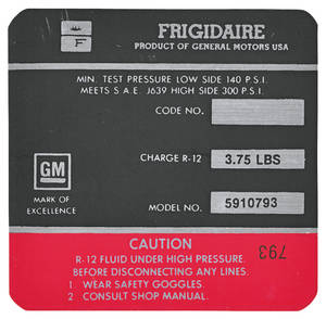 1972-1972 Cadillac Air Conditioning Compressor Decal - Frigidaire (Red, #5910793)