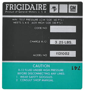 1972-73 Cadillac Air Conditioning Compressor Decal - Frigidaire (Green, #1131002)
