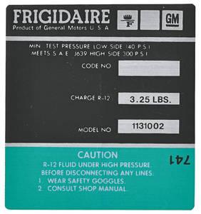 1972-73 Eldorado Air Conditioning Compressor Decal - Frigidaire (Green, #1131002)