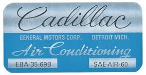 1970 Cadillac Evaporator Box Decal EBA3569B, Coupe DeVille
