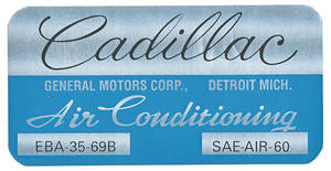 1970 Evaporator Box Decal EBA3569B, Coupe DeVille