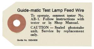 1964 Cadillac Headlight Tag, Guide-Matic (#5954908)