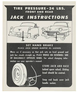 1950 60 Special Jacking Instruction Tag - Cardstock