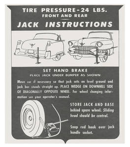 1955 Eldorado Jacking Instruction Tag - Cardstock