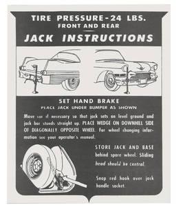 1957 Eldorado Jacking Instruction Tag - Cardstock (Except Biarritz)