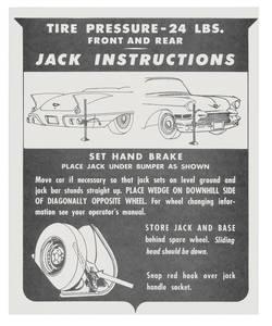 1957 Eldorado Jacking Instruction Tag - Cardstock (Biarritz)