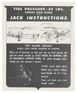 1958 Eldorado Jacking Instruction Tag - Cardstock (Biarritz)