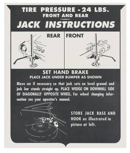 1959-60 Eldorado Jacking Instruction Tag - Cardstock