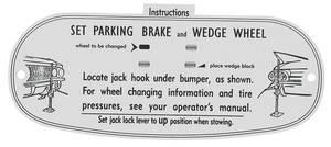 1961 Eldorado Jacking Instruction Tag - Cardboard