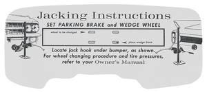 1962 Eldorado Jacking Instruction Tag - Cardboard
