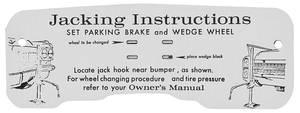 1963 Eldorado Jacking Instruction Tag - Cardboard